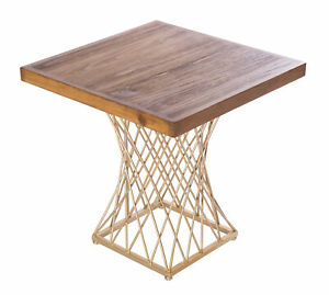 New Bold Tones Modern Square Wood and Gold Metal Side Table, QI003518