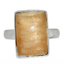 Orange Selenite 925 Sterling Silver Ring Jewelry s.7 AR142000