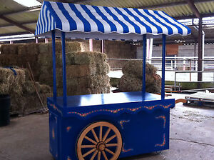 BLUE HANDCART VICTORIAN STYLE HANDPAINTED WOODEN MARKET STALL retail DISPLAY