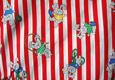 RED STRIP RABBIT PRINTED100% COTTON USA FABRIC WITH PUFF TEXTURE DETAIL - 4.6m