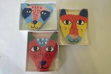3 x wooden animal face puzzles jigsaw age 1+ kids child toy party stocking