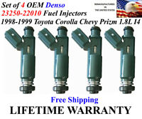 Toyota Corolla *98-99* 1.8L I4 OEM DENSO #23250-22010 Fuel Injectors 4x Rebuilt