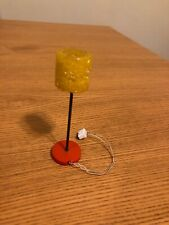 Vintage LUNDBY Dollhouse Yellow Crystal Shade Standing (Floor) Lamp
