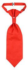 Vesuvio Napoli PreTied ASCOT Paisley Solid RED Color Cravat Men's Neck Tie