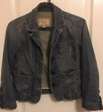 Ambercrombie & Fitch Jean Jacket S Womens Distressed Blue Denim Blazer Top
