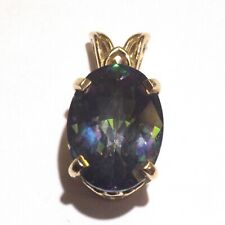 14k yellow gold oval green purple mystic topaz pendant slide 3.1g estate ladies
