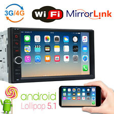 "Android 5.1 Double DIN 7"" Car Stereo GPS Sat Nav Bluetooth WiFi 3G/4G FM Radio"