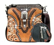 Montana West Rhinestone Buckle Floral Embroidered Gun Concealment Messeger Bag