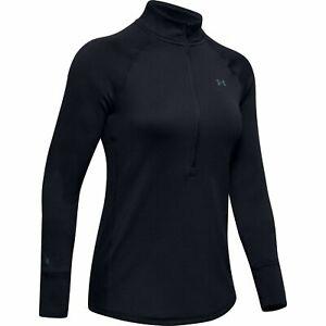 Under Armour 1343319 Women's UA ColdGear Base 4.0 1/2 Zip Baselayer Shirt, Black