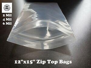 "12""x15"" Zip Seal 2 Mil 4 Mil 6 Mil Thick Reclosable Top Lock Plastic Zipper Bags"
