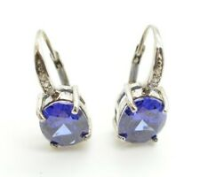 JTV Blue & White Gemstones Rhodium Over Sterling Silver Drop Dangle Earrings