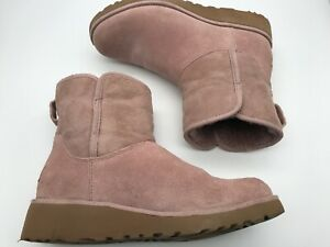 Ugg Mini Classic womens size 6 ankle boots suede pink purple shearling lined