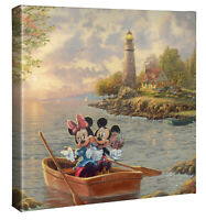 Thomas Kinkade Studio Mickey and Minnie Lighthouse Cove 14 x 14 Wrapped Canvas