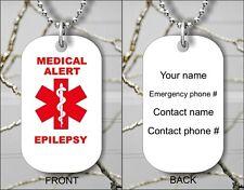 MEDICAL ALERT EPILEPSY  EMERGENCY PERSONALIZED DOG TAG PENDANT NECKLACE -