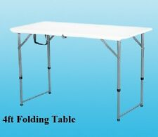 HEAVY DUTY FOLDING TABLE 4FT CAMPING PICNIC BANQUET PARTY GARDEN TABLES WHITE