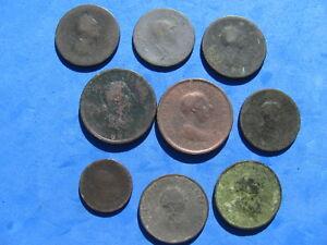 RARE Lot (9) post  Colonial Era   Copper Coin Great Britain/US