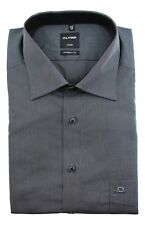 """Mens Shirt Olymp Luxor Modern 17.5"""" Tailored Fit Cotton Charcoal black Stripe"""