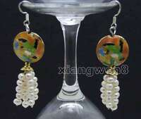 4-5mm White Round Natural Pearl with 18mm Pink Cloisonne Dangle earring-ear523