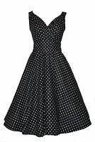 Ladies 40's 50's Retro Vintage Style Black Polka Dot Cotton Swing Tea Dress 8-22