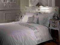 Rapport Crystal Diamante Embellished Silver Duvet Cover Bedding Set S/D/K