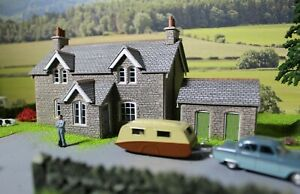 00 scale, Railway cottages diorama large A3 size, 297mm x 420mm.