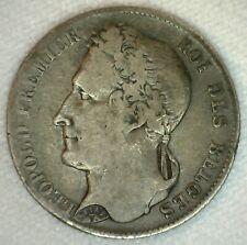 1844 Silver Belgium 1/2 Franc Coin Fine