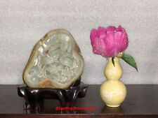 Large Chinese PROC Carved Jade Boulder & Fitted Woodstand Cranes and Pine Tree
