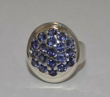 Sterling Round Cluster Tanzanite Ring Size 8