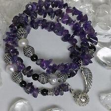 Spiral Edelsteinarmband Amethyst Süßwasserperle Engelsrufer+ Perlen 925 Silber