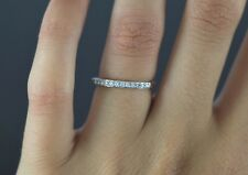 14K Oro Blanco 0.17ct Diamante Redondo Compartido Pinza Alianza Tamaño 5