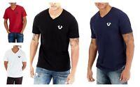 True Religion Men's Classic Horseshoe Logo V-Neck Tee Shirt Top - M4OW58ZA0