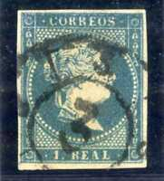 Sello de España 1855 Isabel II nº 49 1 real azul matasellado Spain stamps
