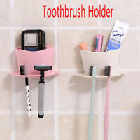 Plastic Mounted Toothbrush Holder Kitchen Bathroom Wall Hanger Suction Cup--