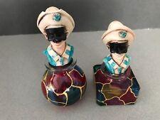 Vintage ITALIAN PAIR MURANO ART GLASS PERFUME BOTTLES w/MASQUERADE FIGURE TOPS