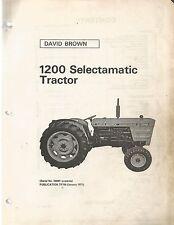 David Brown 1200 Selectamatic Tractors Parts Manual