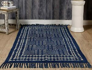 Indian Printed Traditional Rug (Blue, Cotton, 3 X 5 Feet)