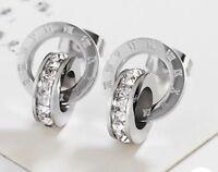 Ohrringe Ohrstecker Römische Ziffern Zahlen Bulgarien Luxus Edelstahl Silber
