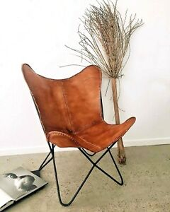 Handmade Vintage Leather Butterfly Chair Powder Coated Iron Folding Stand BKF