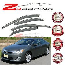Chrome Trim Smoke Tinted Window Visor For 2012-2017 Toyota Camry Sedan 4 Doors