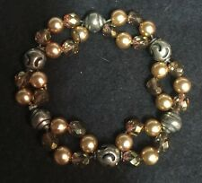 CHICO'S Distressed Gold Tone/Multi-Color Faux Pearls/Beads Stretch Bracelet