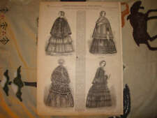 1853 ANTIQUE WOMANS FASHION PRINT CLOAKS CLOTHING NR