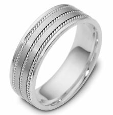 SOLID 14K WHITE GOLD MENS WEDDING BAND BRAIDED HANDMADE WEDDING RINGS 8.5MM