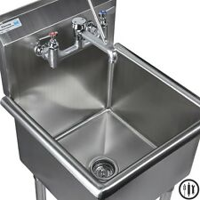 """Stainless Steel Mop Sink and Service Sink Faucet Package- 18"""" x 18"""" Sink NSF"""