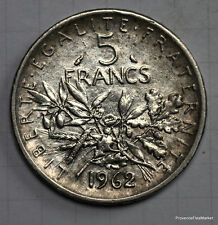FRANCE PIECE ARGENT 5 FRANC SEMEUSE 1962 voir scan haute definition  fr127