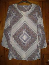 Next Chiffon Style Shirt Longer-Length Collarless Cream Paisley Patterned Size S