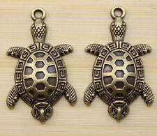 6 pcs Retro style lovely Good luck bronze tortoise charm pendant 36x21 mm