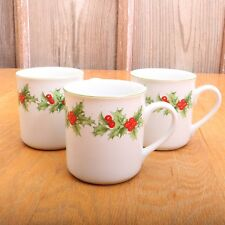 3 Schmidt Porcelana Brasil Holly Christmas Collectible Coffee Cup Tea Mug