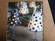 Lone Elm Studios Wine Glass Shades  Set of 6/Includes LED Tealight Black & White