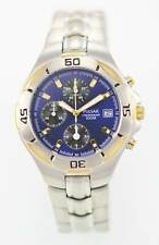 Pulsar Watch Mens Chro Date Stainless Steel Silver Gold 100m Battery Blue Quartz