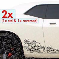 2x Side Pile of Skulls Rock Punk Goth Hot Rod Car Truck Body Vinyl Sticker Decal